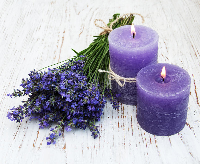 Lavender and candles stock photo