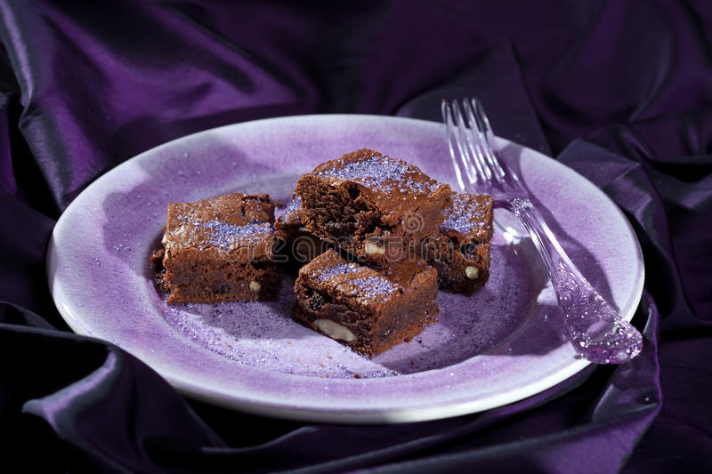 Lavender Chocolate Brownies Royalty Free Stock Photography