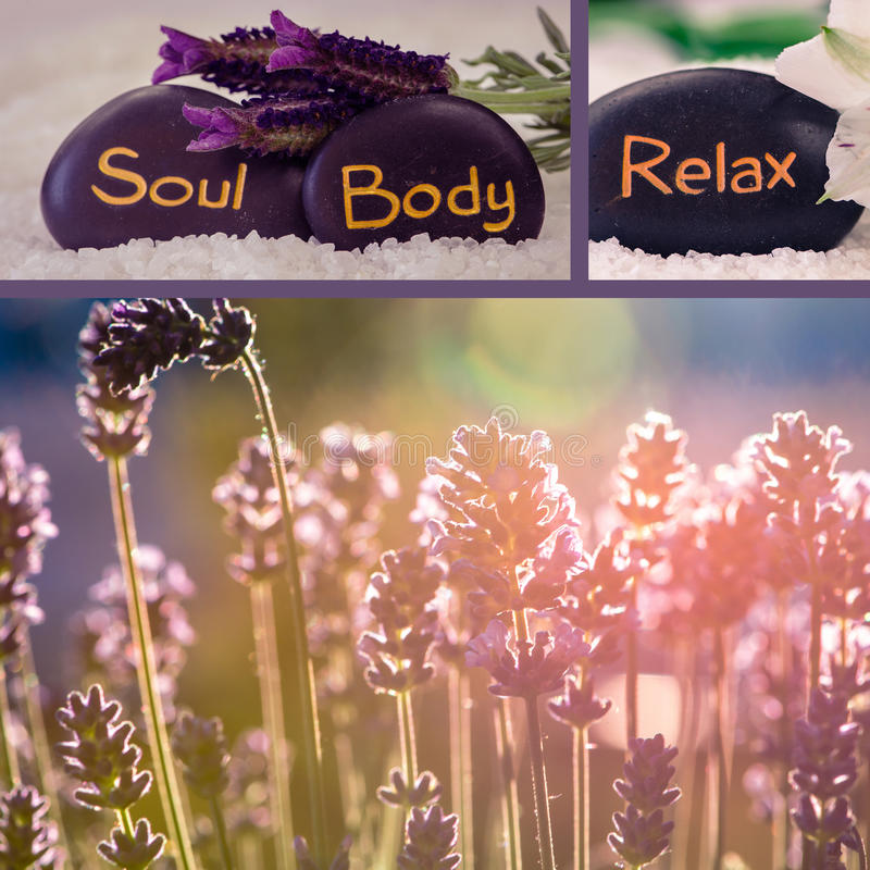 Lavender collage. Collage of black lava stones with words stock photography