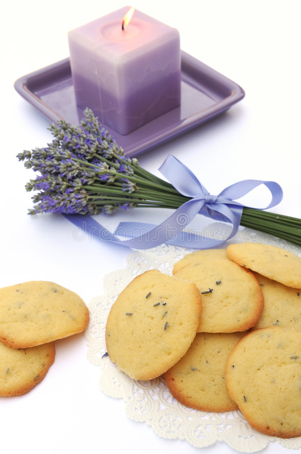 Download Lavender Cookies And Candle Stock Photo - Image: 5775726