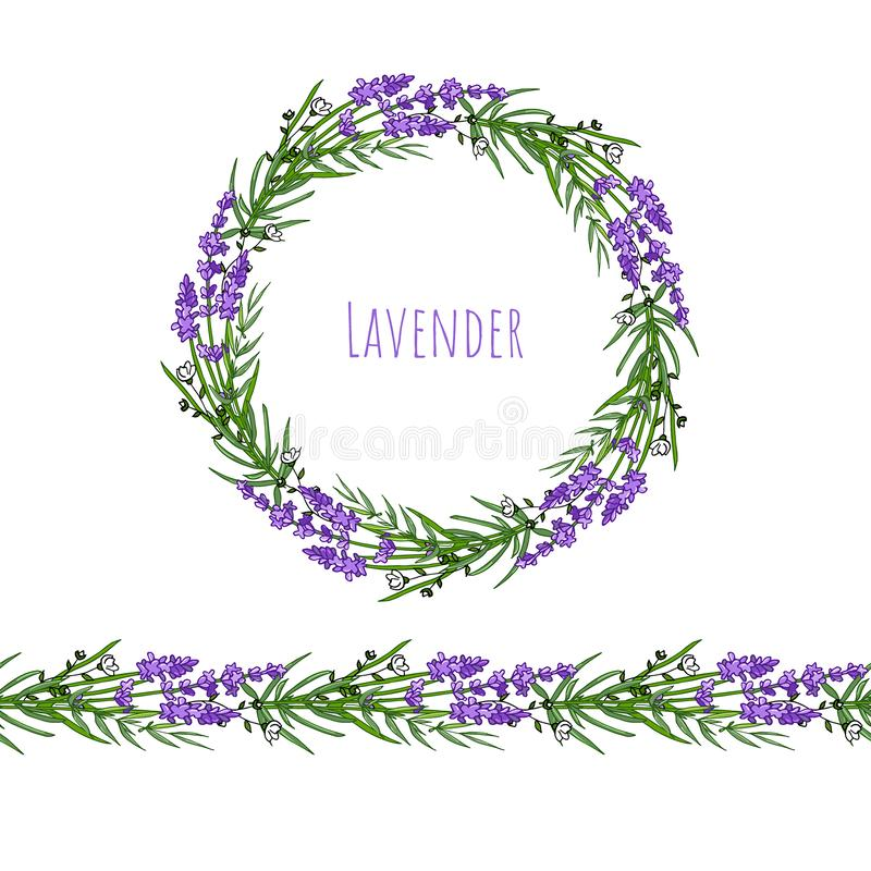 The lavender elegant card with frame of flowers and text. vector illustration