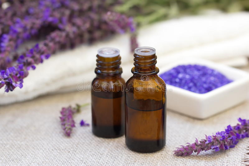 Lavender essential aroma oil royalty free stock images