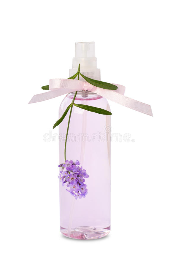 Lavender essential oil spray bottle isolated. On white background royalty free stock photography