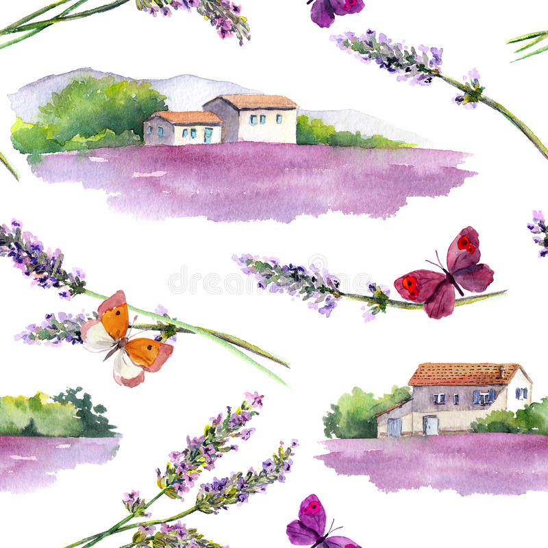 Lavender field, lavender flowers, butterflies with rural farm buildings. Repeating pattern. Watercolor stock illustration