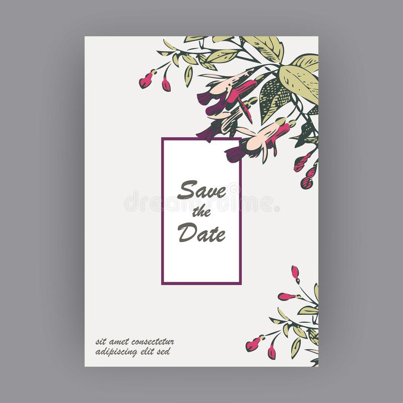 Botanical wedding invitation card template design, hand drawn fuchsia flowers and leaves, pastel color vintage rural with square vector illustration