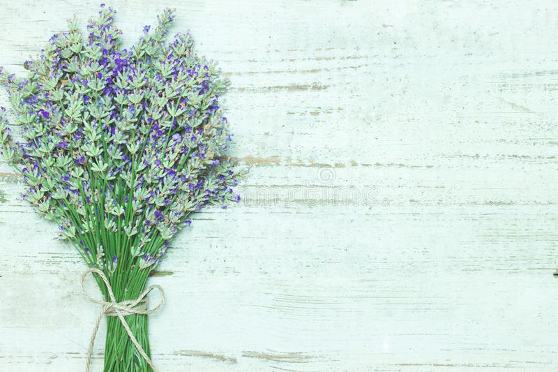 Lavender flower bouquet on wood table royalty free stock photo