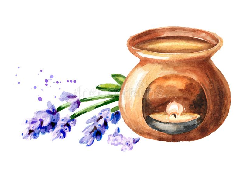 Lavender  flower essential oil and aroma lamp. Watercolor hand drawn illustration isolated on white background.  royalty free illustration