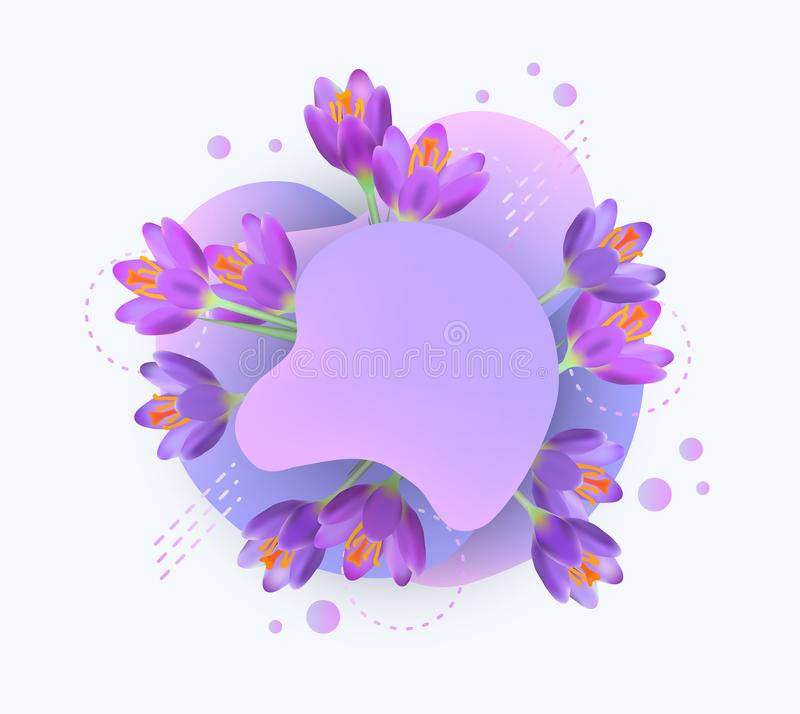 Lavender flower layer behind liquid geometric shape - blank violet banner with realistic flowers royalty free illustration