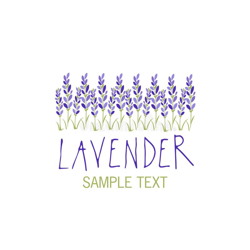 Lavender flower. Logo design. Text hand drawn. vector illustration