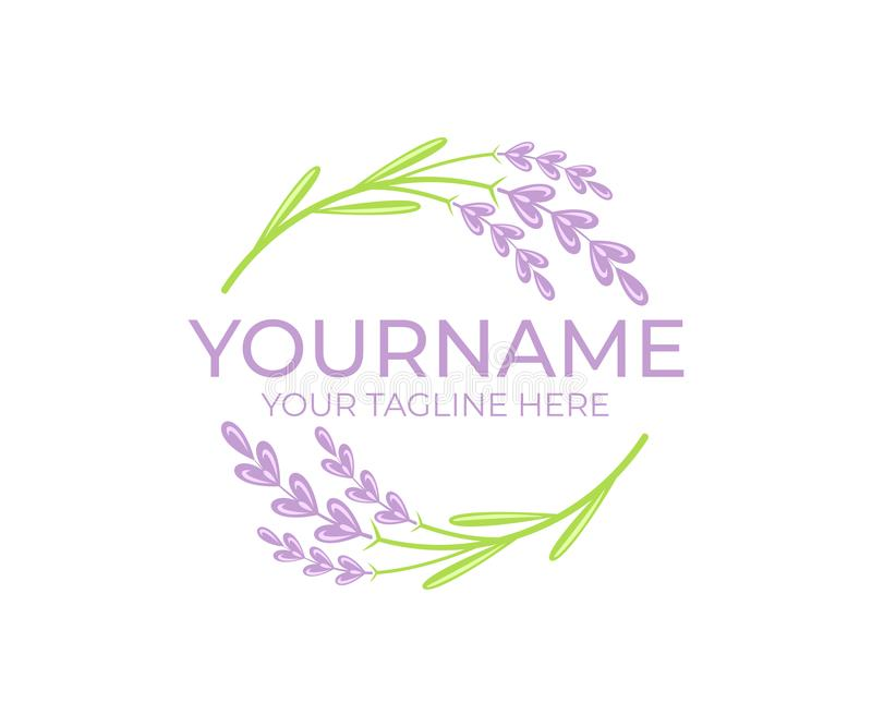 Lavender flower and plant, logo template. Beauty and natural cosmetic oil, circular vectorial design stock illustration