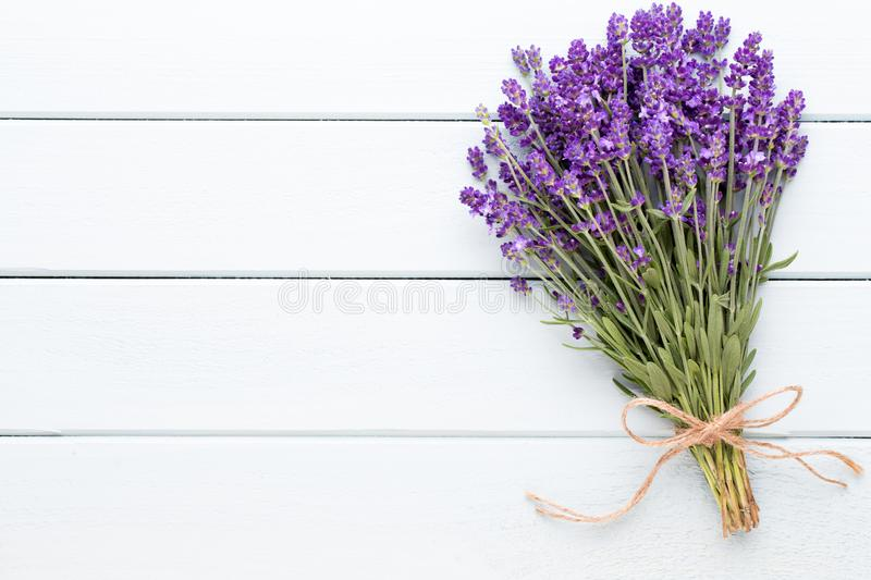 Lavender flowers, bouquet on rustic background, overhead. Lavender flowers, bouquet on rustic background, overhead stock photography