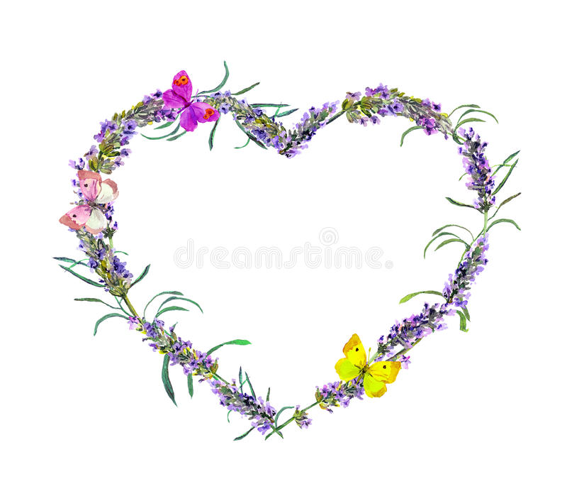 Lavender flowers, butterflies. Watercolor floral heart frame for Valentine day, wedding royalty free illustration