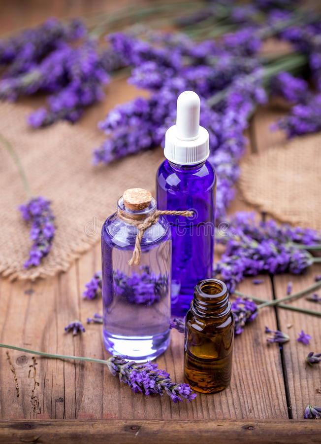 Lavender flowers and essential oils royalty free stock photo