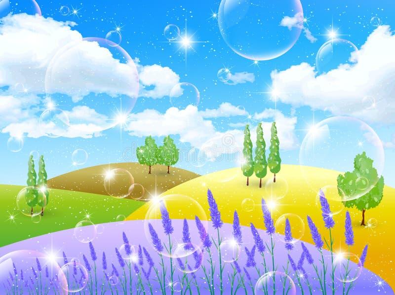 Download Lavender Flowers Landscapes Stock Vector - Illustration of landscape, flower: 40109956
