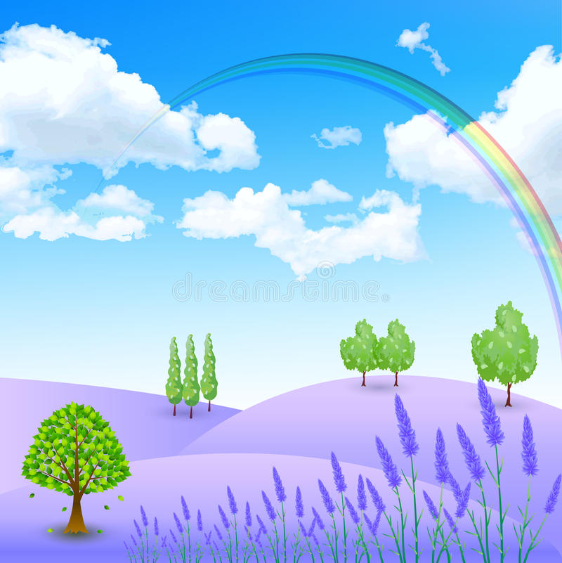 Lavender Flowers Landscapes Stock Vector