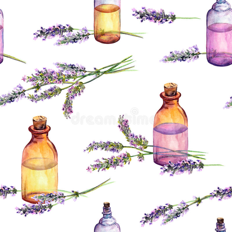 Lavender flowers, oil perfume bottles. Seamless pattern for cosmetic, perfume, beauty design. Vintage watercolor royalty free illustration