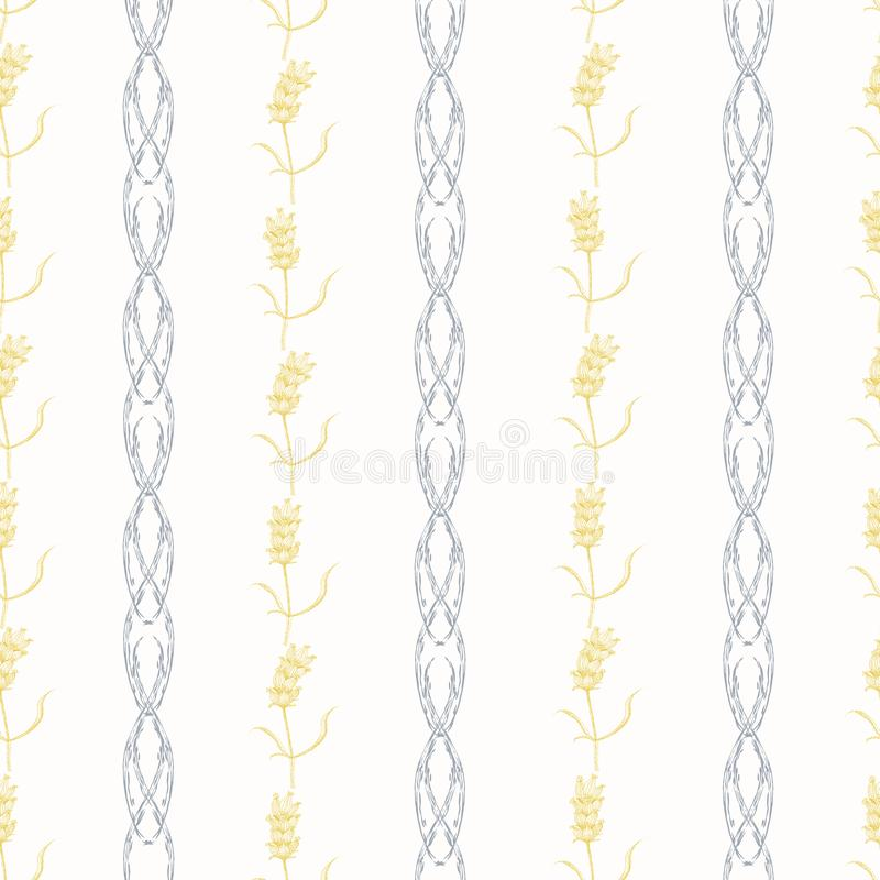 Lavender flowers vintage style design. Geometric seamless vector pattern on cream background with pastel purple and stock illustration