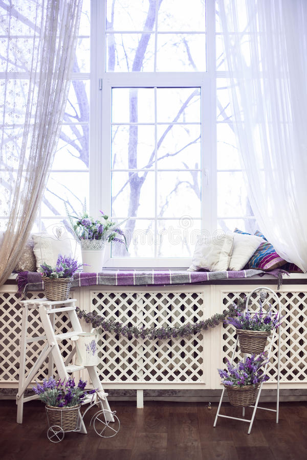 Lavender flowers in white pots and wicker baskets stand on the stairs and on windowsill. stock photography