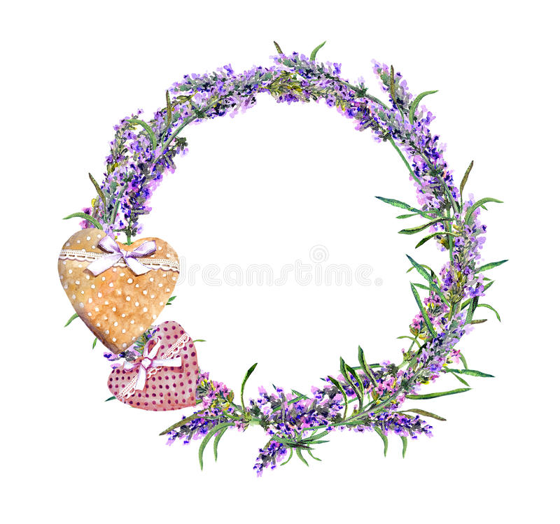 Lavender flowers wreath, textile hearts. Watercolor in rustic provencal style. Lavender flowers wreath with textile hearts. Watercolor in rustic provencal style stock images