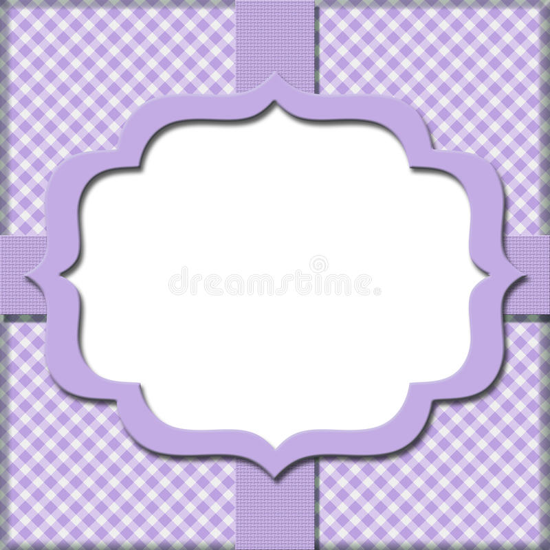 Lavender Gingham with Ribbon Background stock illustration