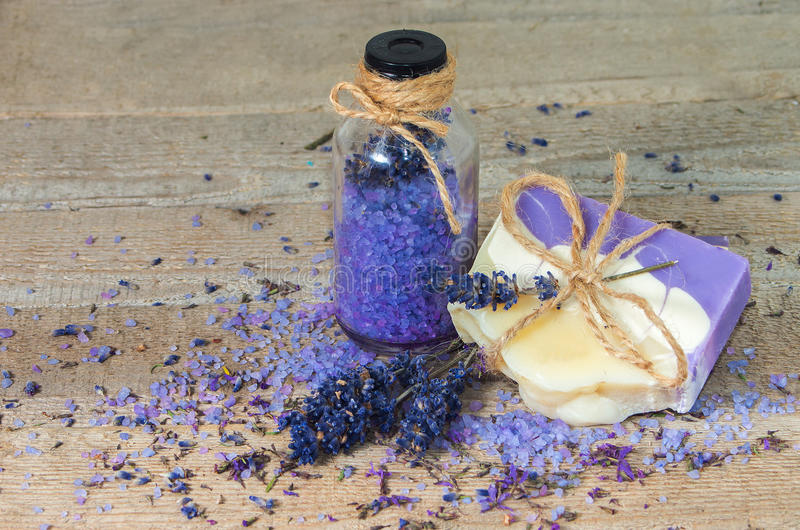 Lavender handmade soap and sea salt . royalty free stock images