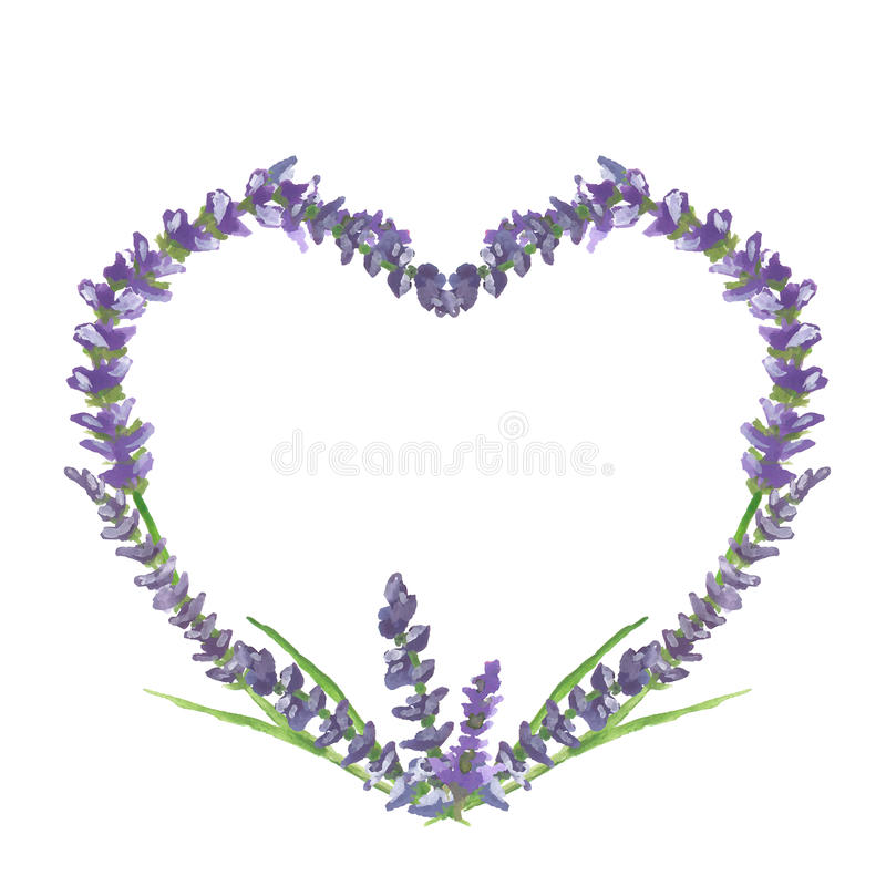 Lavender heart, wedding or valentine graphic motive, watercolor painting, illustration. Lavender heart on beige background in Provence style, wedding or vector illustration