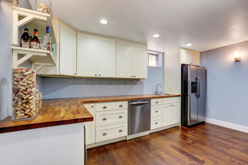 Lavender Kitchen room in the basement of craftsman house stock image