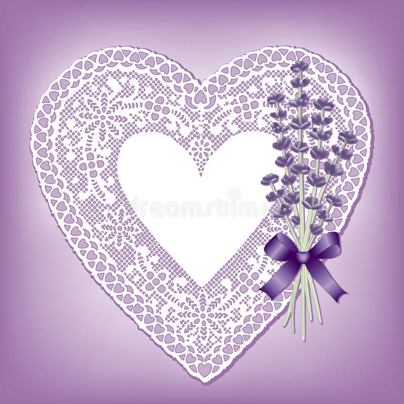 Lavender & Lace Heart Doily. Vintage lace heart doily, place mat, violet background, Sweet Lavender flower bouquet. Copy space for Mother's Day, Valentine's Day vector illustration