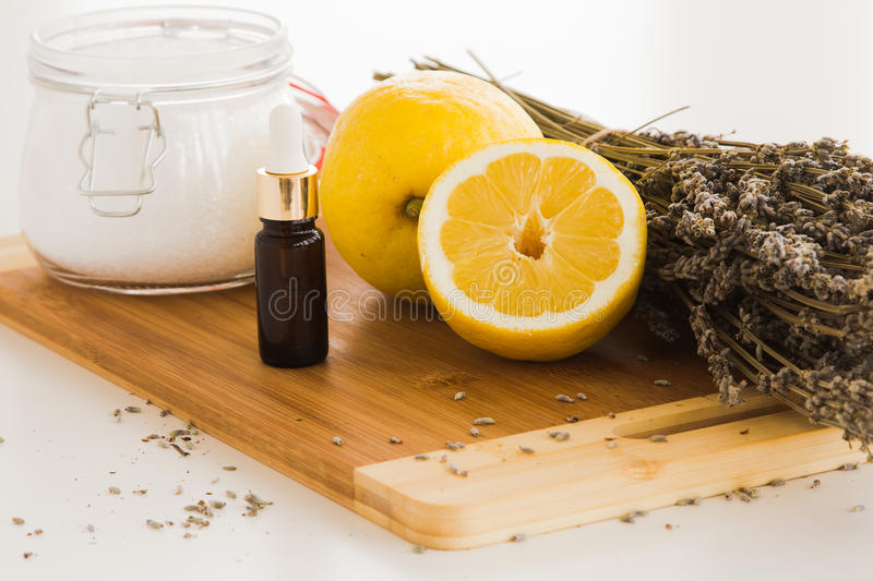 Lavender and Lemon Bath Salt set stock photos