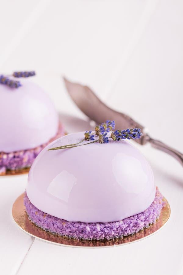 Lavender mousse κέικ στοκ φωτογραφία με δικαίωμα ελεύθερης χρήσης
