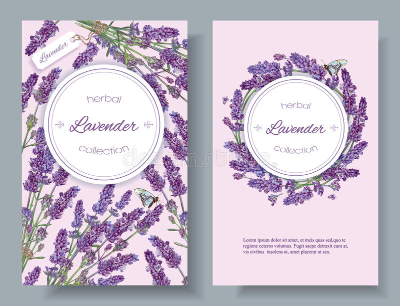 Lavender natural cosmetics banners royalty free illustration