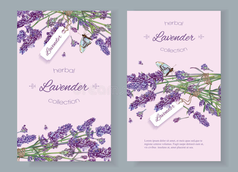 Lavender natural cosmetics banners stock illustration