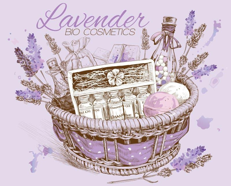 Lavender natural cosmetics basket. Vector illustration vector illustration