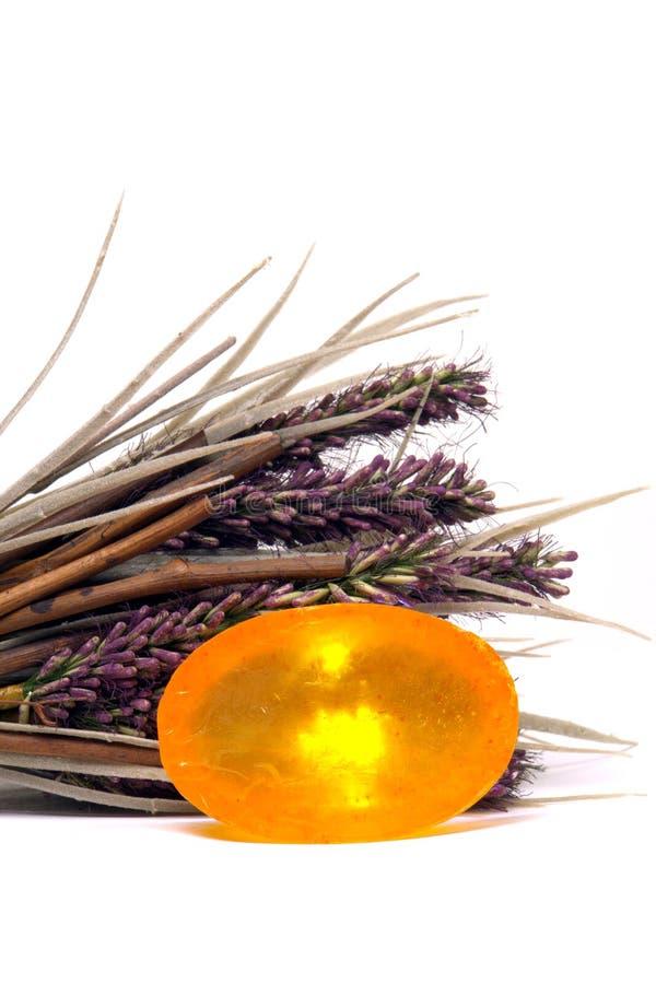 lavender natural soap 库存图片