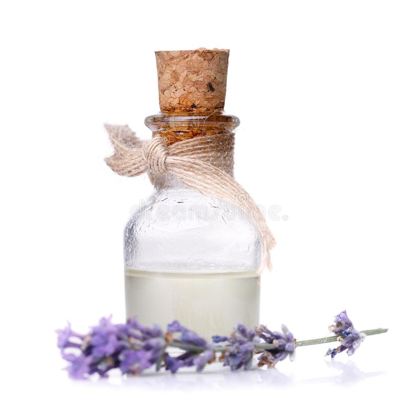 Lavender oil in glass bottle stock photography