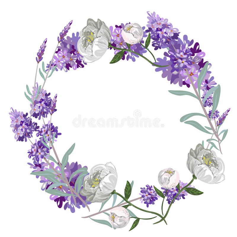 Lavender and peony round frame vector template vector illustration