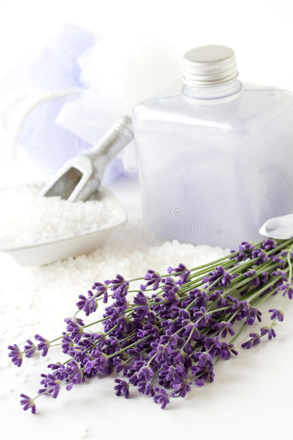Lavender plant, shower gel and bathsalt stock image