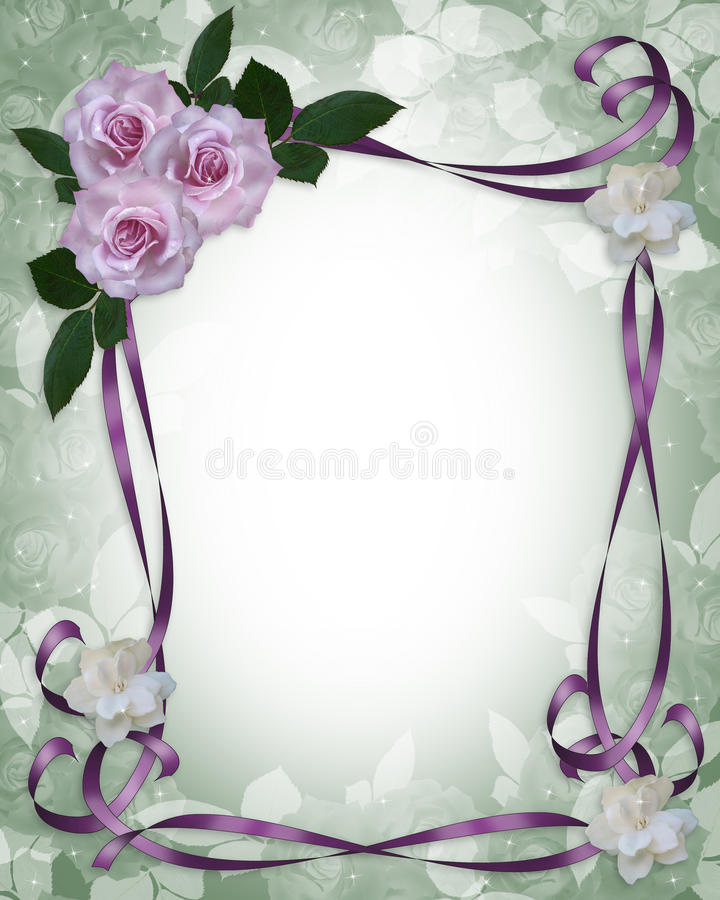 Lavender Roses Wedding Invitation border royalty free illustration