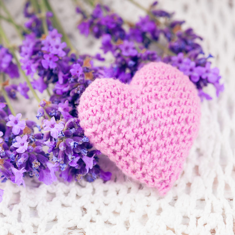 Lavender sachet. And bunch on the crochet doily royalty free stock image