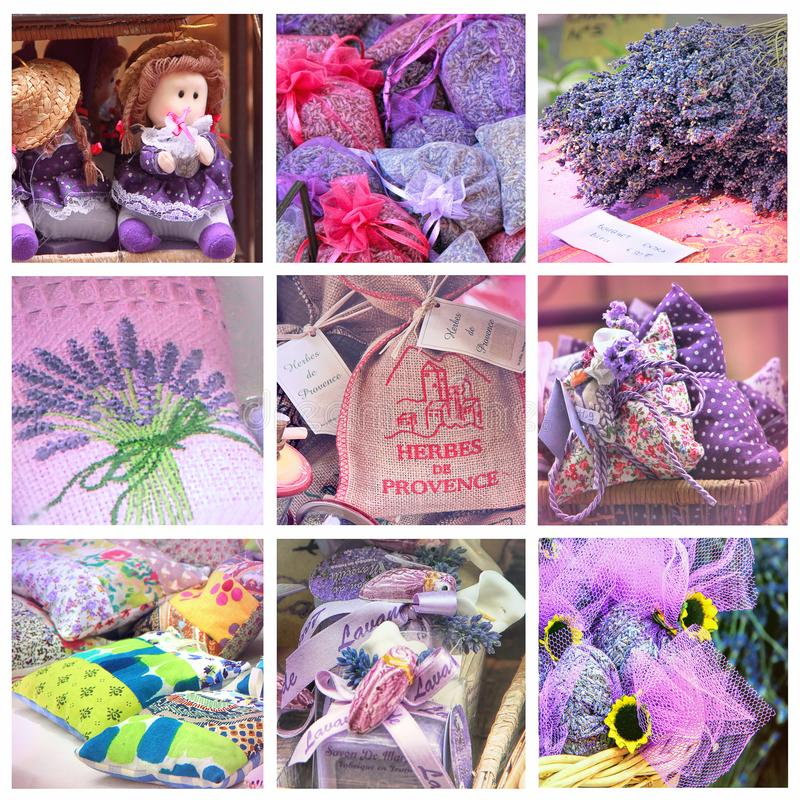 Lavender for sell on provencal market. Provence market collage: Lavender for sell, South of France stock photos