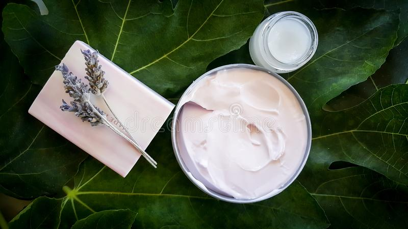 Lavender soap and face creams at a spa stock photo
