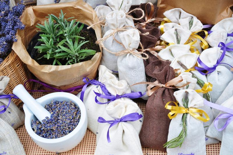 Lavender spa bags healing herbs mortar stock photo