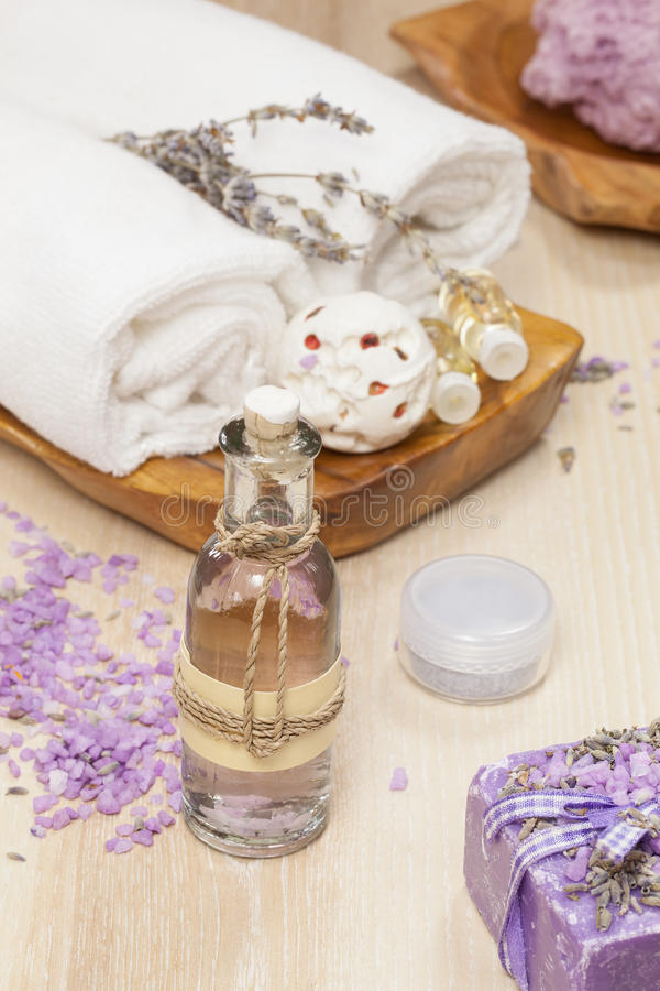 Lavender spa behandeling stock fotografie