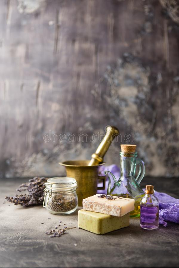 Lavender spa products stock photos