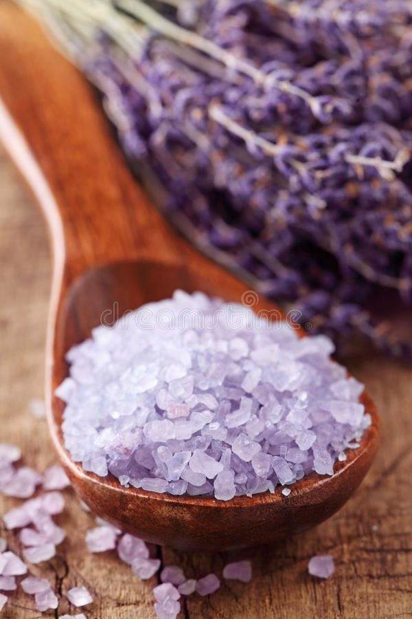 Lavender Spa With Sea Salt Stock Images
