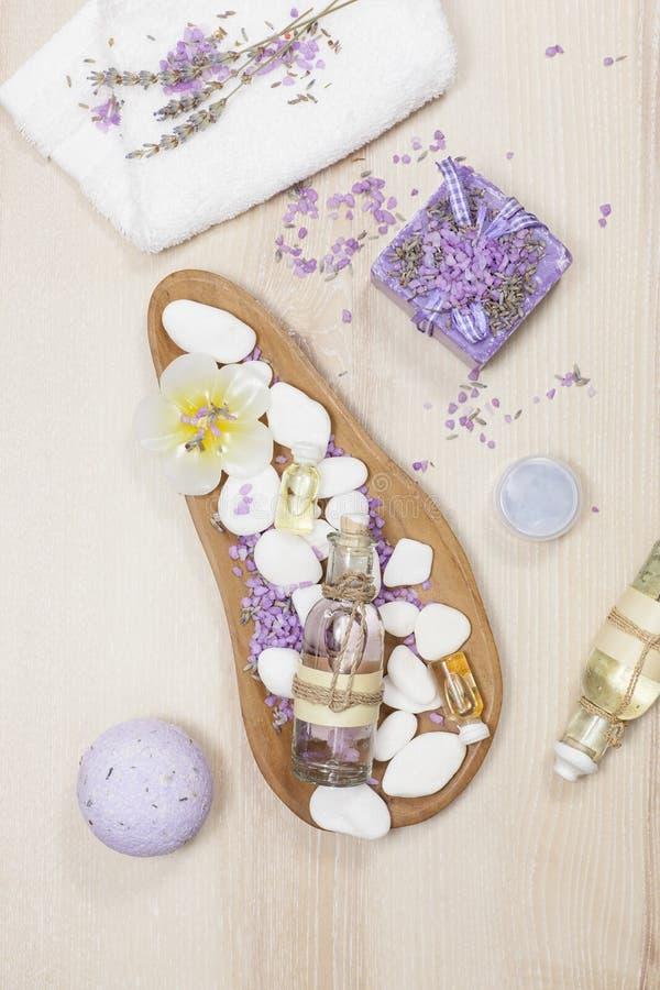 Lavender spa set stock image