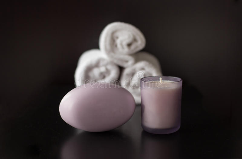 Lavender Spa Soap and Candle with White Towels royalty free stock photos