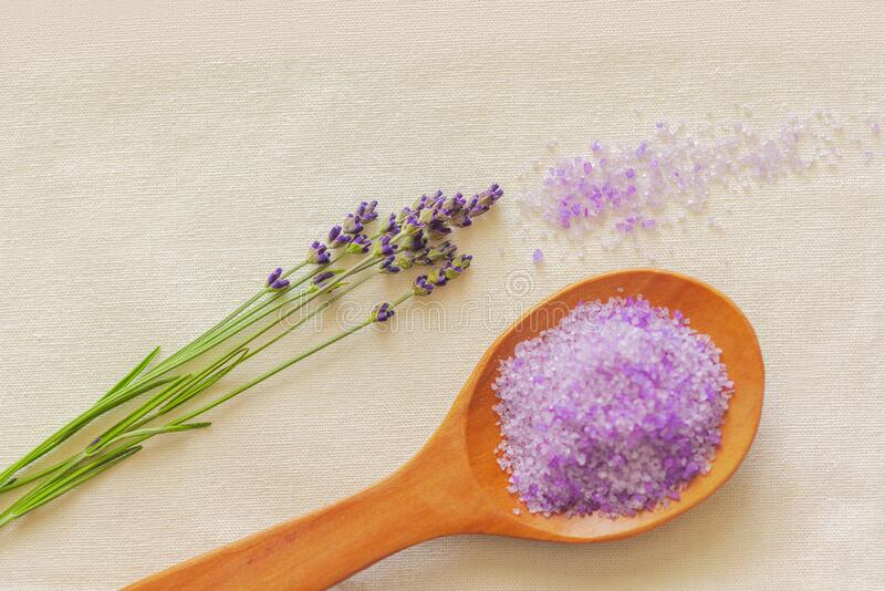 Lavender still life interior shot. Spoon royalty free stock photo
