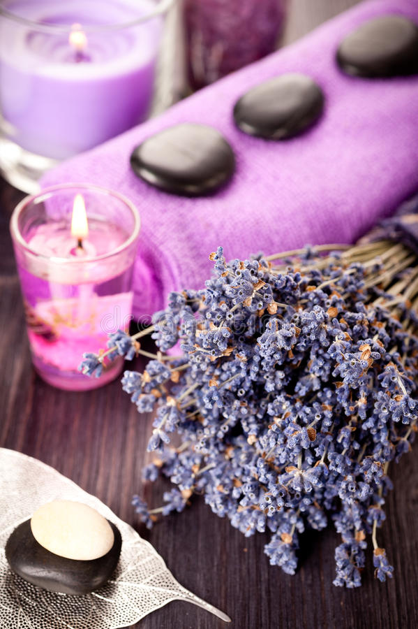 Lavender and stones for spa massage royalty free stock photo