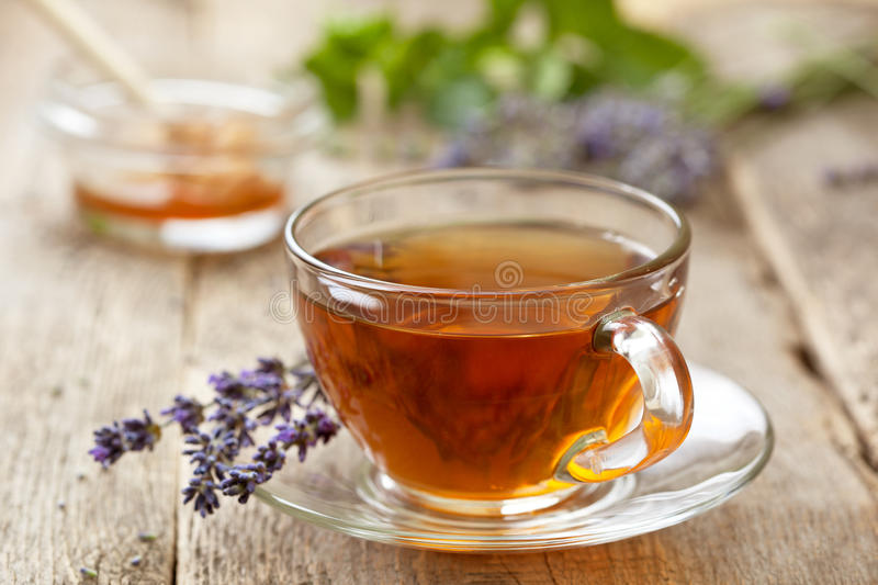 Lavender tea stock photography